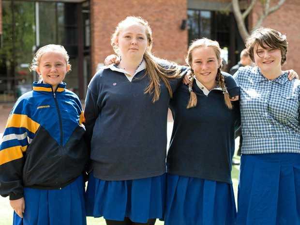 SUPER SINGERS: Pittsworth State High School choir members (from left) Hayley Greenwood, Maya Ayres, Shania McLennan and Ayla Woodward-Hopkins.
