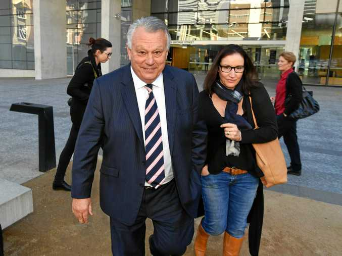 Former Australian Rugby Union coach John Connolly (left) at the Brisbane District Court in Brisbane, Tuesday, August 8, 2017.