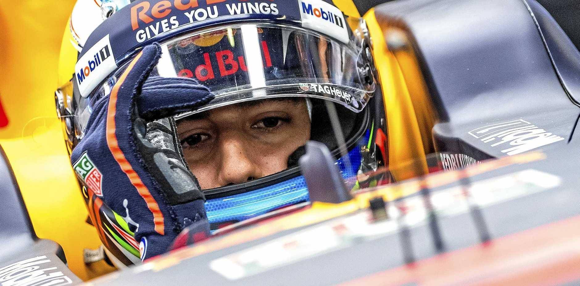 Daniel Ricciardo behind the wheel of his Red Bull at Monza.