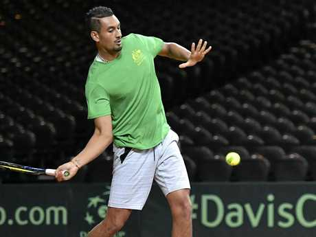 Australia's Nick Kyrgios during a practice session prior to the Davis Cup World Group semi-final in Brussels.