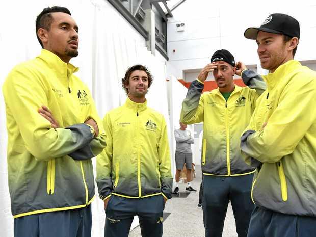 Australian players (from left) Nick Kyrgios, Jordan Thompson, Thanasi Kokkinakis and John Peers ahead of their Davis Cup World Group semi-final against Belgium.