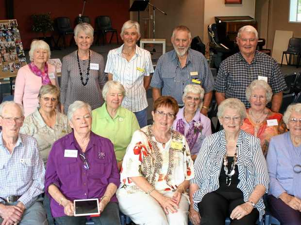 TOGETHER ONCE MORE: Gympie Choral Group members (from back left) Kathy Dakin, Denise Stanton, Jan Thorne, Richard Thorne and Ross Forward, (middle) Margaret Mason, Helen Bartlett, Mary Devlin, Lynn Forward, (front) George Van Cooten, Melodie Zylstra, Sue Williams, Betty Collins and Margaret Gartrell enjoyed a reunion.