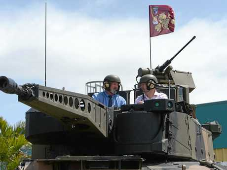 Local MP Bill Byrne takes a look at the Rheinmetall Boxer Combat Reconaissance Vehicle in Rockhampton as part of its road trip through Queensland.