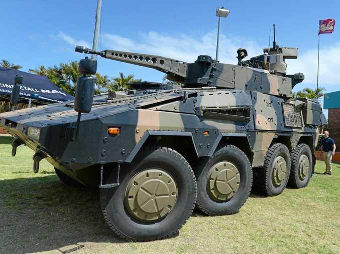 A Rheinmetall Boxer Combat Reconaissance Vehicle in Rockhampton as part of its road trip through Queensland.