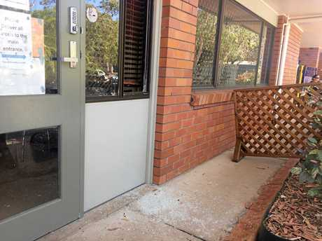 The window at the business was smashed in by burglars on Wednesday night.