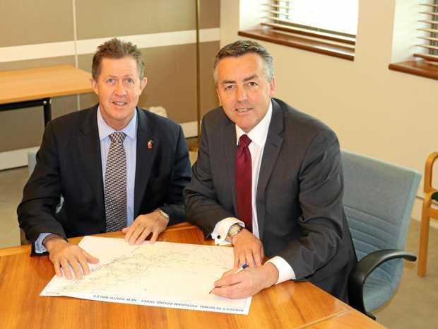Cowper Federal MP Luke Hartsuyker with Infrastructure Minister Darren Chester .