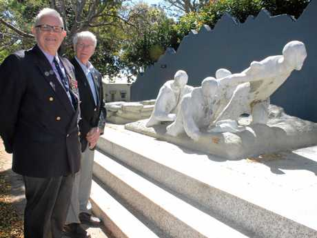 WE WILL REMEMBER: A commemoration service will be held on Saturday to mark the centenary of the death of Paddy Bugden VC. Pictured at the Paddy Bugden memorial at Alstonville are the president of the Alstonville RSL Sub-Branch, Mark Quilligan, and vice-president of the Rotary Club of Alstonville, Bob Costello.