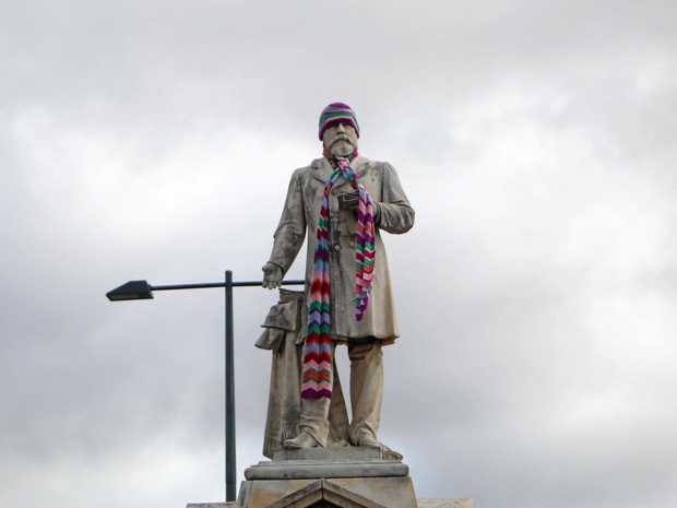 FREEZING: The Thomas Byrnes statue would've needed his winter woolies to get through today's cold.