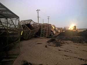 Cane train destroys tractor and more than 50 cane bins
