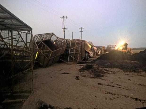 MAJOR CRASH: 50 cane bins were damaged when a cane train hit a tractor last month.