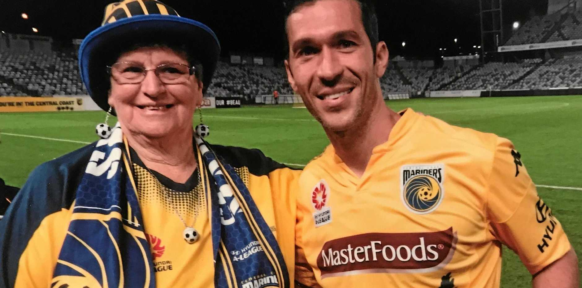 MARINERS MAD: Hazel Smith with last year's marquee signing Luis Garcia, a Spanish international who had previously played for Liverpool in the English Premier League.