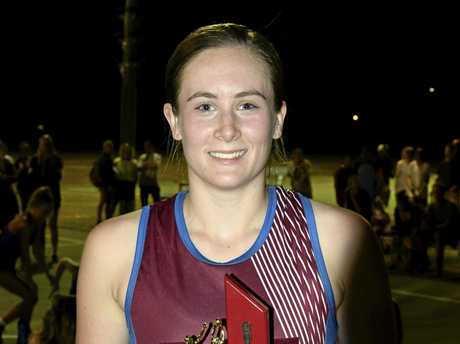 McAuley Catholic College goal keeper Arielle Hackett was named player of the Opens final during the Daily Examiner Netball Challenge finals hosted by the Grafton Netball Association.