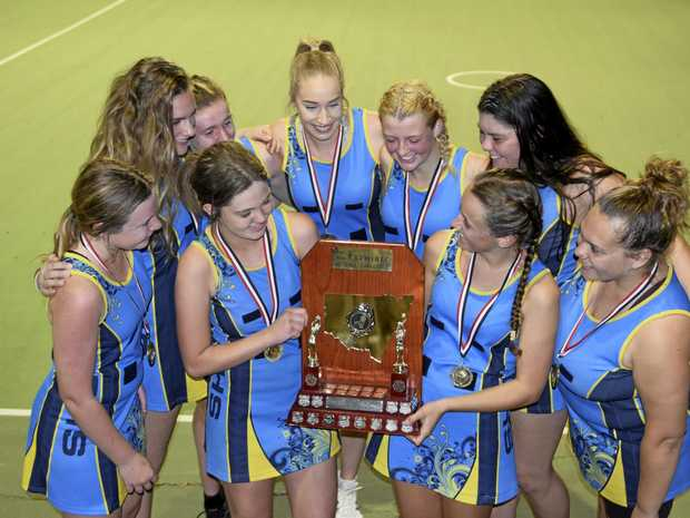 CHAMPIONS: Grafton High School led by captain Mikayla O'Mahony (centre) clinched Opens glory in a thrilling display against McAuley Catholic College during the Daily Examiner Netball Challenge finals hosted by the Grafton Netball Association.