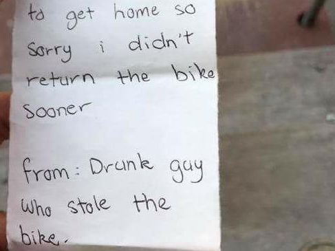 The thief wrote a note apologising to the owner of the bike.