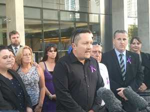 Bruce Morrissey fronts media outside court