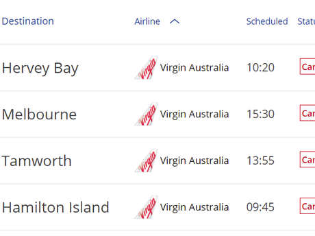 Departing flights cancelled at Sydney Airport.