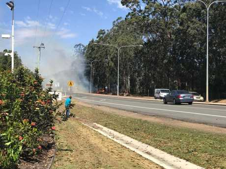The fire on Steve Irwin Way, across the road from the Puma servo at Glass House Mountains.