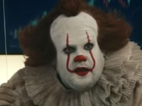 James Corden is unrecognisable as Pennywise from IT.