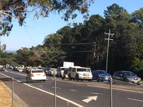 Traffic backed up past The Northern Star offices due to five car crash.