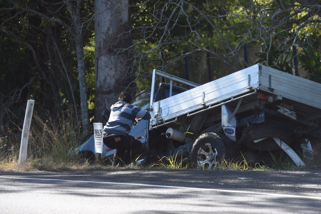 Traffic is congested for kilometres along the Bruxner Hwy near Goonellabah as emergency services move to clear debris from a five-car crash.