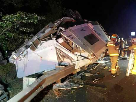 A car towing a caravan after it crashed on the Bruce Hwy at Cooroy on September 3.