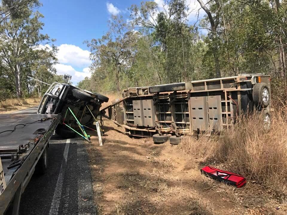 The Gympie crew cleaned up a car and caravan crash on the Wide Bay Hwy on September 1.
