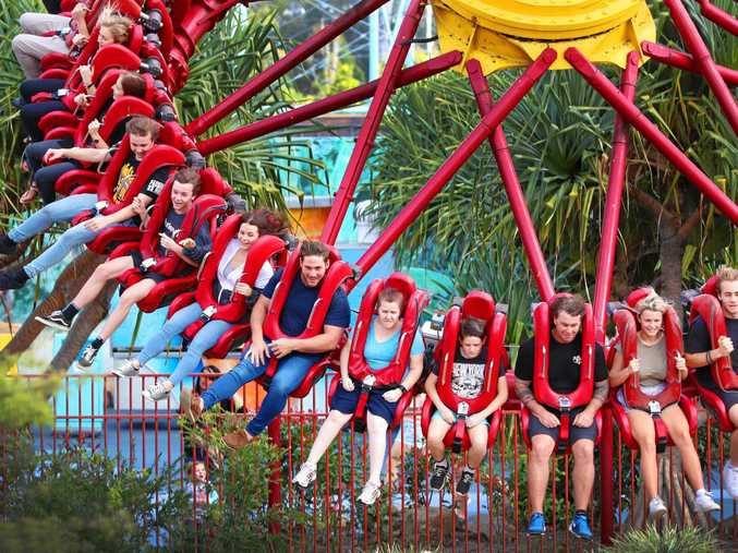 Thrillseekers on one of the rides at Dreamworld on the Gold Coast