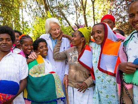 Founder of Hamlin Fistula Ethiopia, Catherine Hamlin with patients