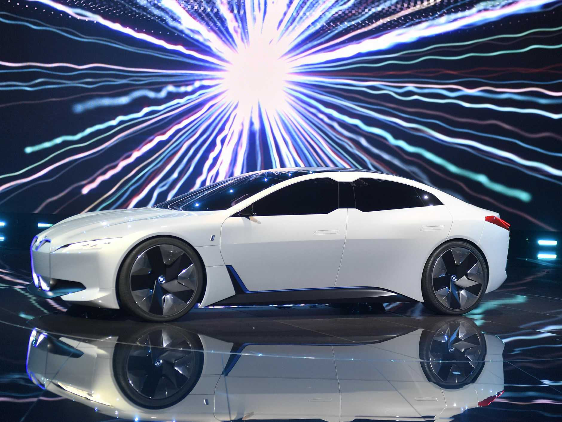 BMW i vision dynamics is presented at a BMW event during the first media day of the International Frankfurt Motor Show IAA in Frankfurt, Germany, Tuesday, Sept. 12, 2017, which runs through Sept. 24, 2017. (AP Photo/Martin Meissner)