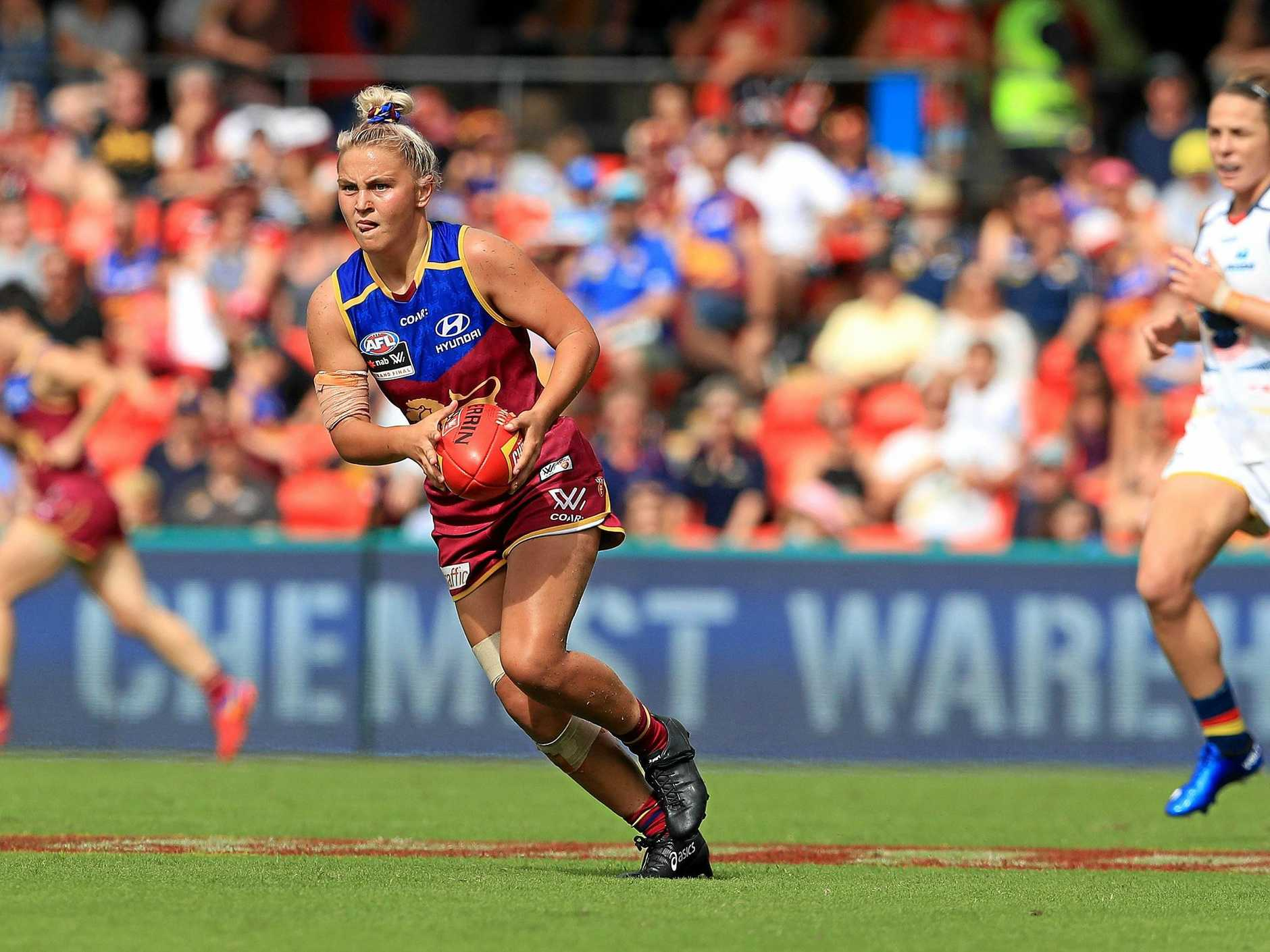 BIG IMPROVER: Megan Hunt in action during the AFLW grand final against the Adelaide Crows at Metricon Stadium on the Gold Coast.