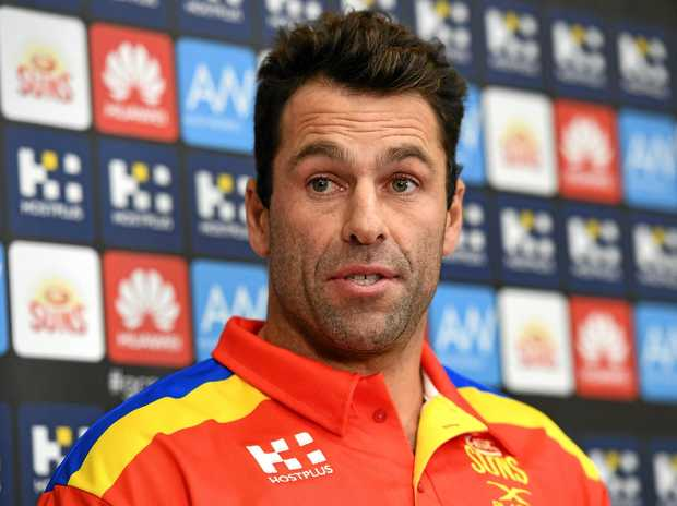 Interim Gold Coast Suns coach Dean Solomon at a press conference.