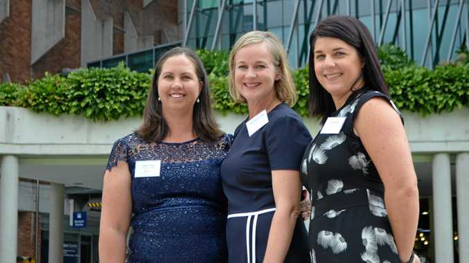 PAST FINALISTS: Queensland Rural Women's Award finalist Jessica Fealy, winner Jacqui Wilson-Smith and finalist Tracey Beikoff outside Queensland Government House in Brisbane.