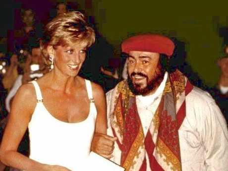 Diana, Princess of Wales with Luciano Pavarotti.