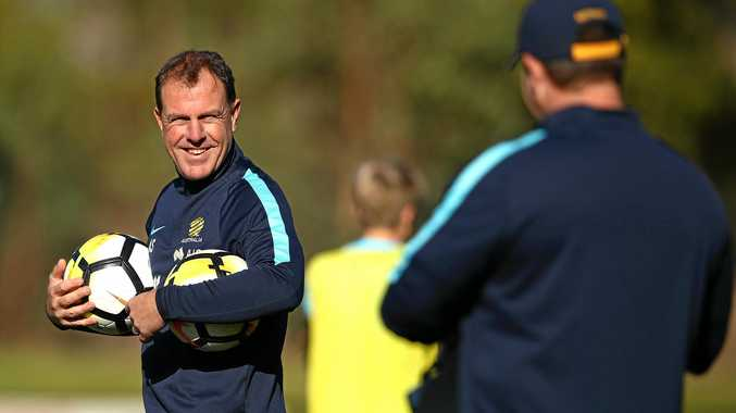 Matildas coach Alen Stajcic directs players during a training session.