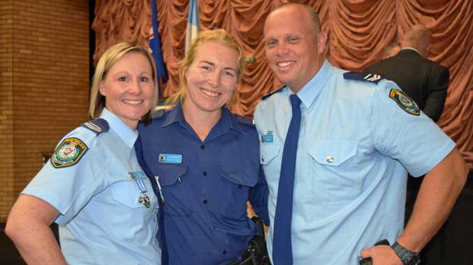 Senior Constables Megan Cook, Nicole and David Hill at the Richmond Local Area Command's medals and awards presentation ceremony at Lismore Workers Club on September 15, 2017.