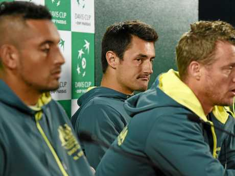Australia's Nick Kyrgios (left) and Bernard Tomic (right) with Davis Cup team captain Lleyton Hewitt last year.