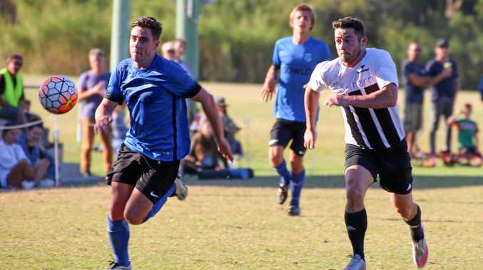 LOCAL DERBY: Scott Fuller (Bangalow) and Aaron Walker (Byron Bay) battle for possession in FNC Premier League game earlier this season.