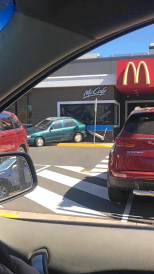 Lorina Rogers took this photo of a car that crashed into McDonald's at Ballina.