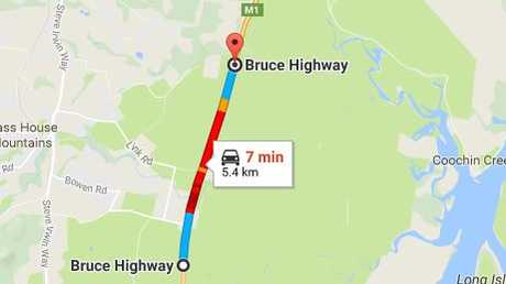 The crash occurred near the Wild Horse Mountain service station in Beerwah and is causing major delays on the Bruce Hwy.
