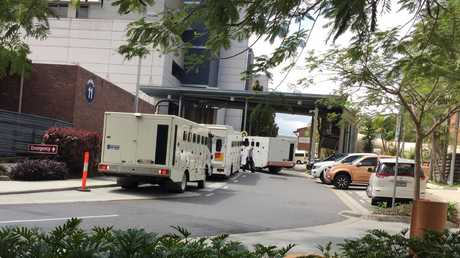 Prison vans ramping at the PA Hospital. Photo: The Courier Mail