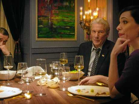 Laura Linney, Steve Coogan, Richard Gere and Rebecca Hall in a scene from the movie The Dinner.