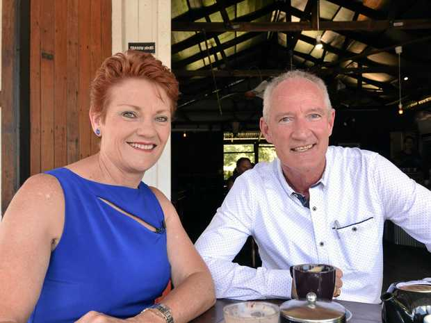 One Nation's Pauline Hanson and Queensland leader Steve Dickson.