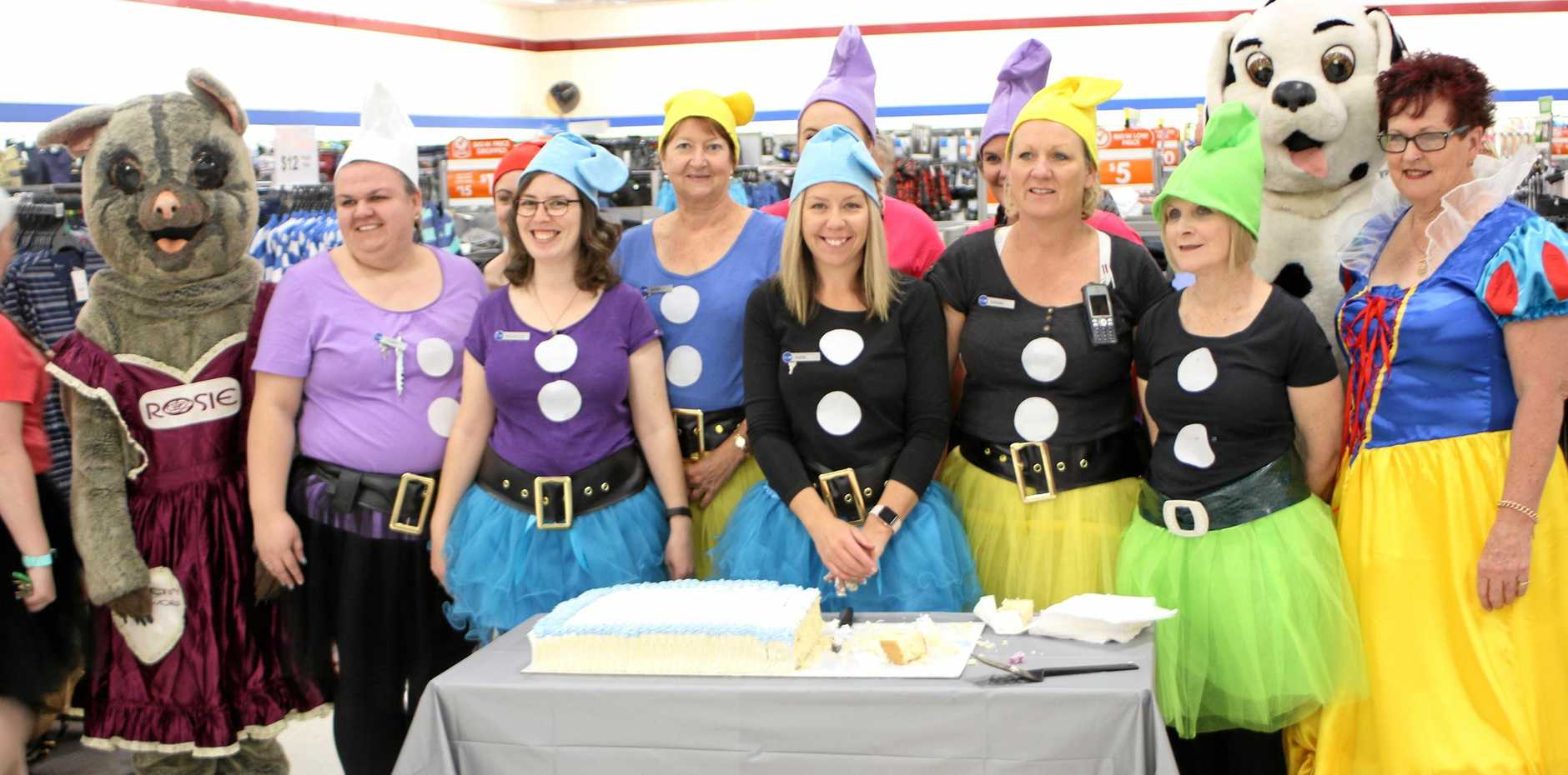 BIRTHDAY BASH: Big W store staff celebrate 20 years in the Rose City yesterday.