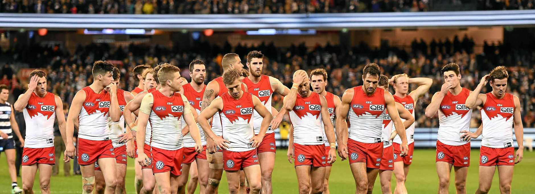 The Swans are seen after the second semi-final between the Geelong Cats and the Sydney Swans at MCG in Melbourne, Friday, September 15, 2017. (AAP Image/Julian Smith) NO ARCHIVING, EDITORIAL USE ONLY