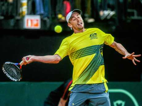 Australia's John Millman during his singles match against David Goffin of Belgium in the Davis Cup.