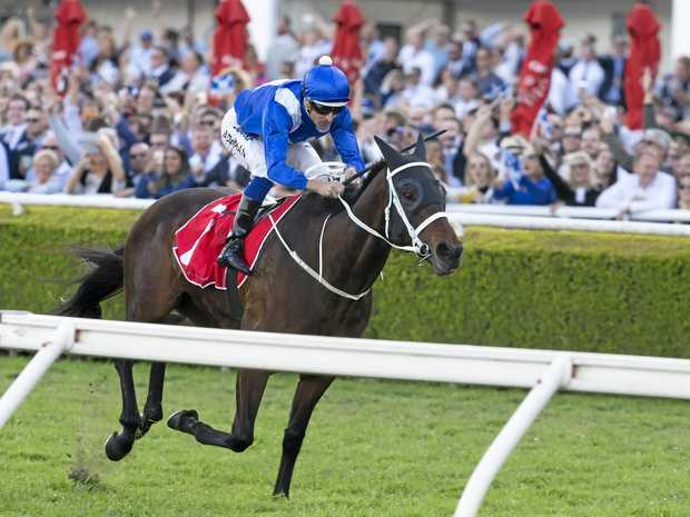 Winx, ridden by Hugh Bowman, wins the George Main Stakes.