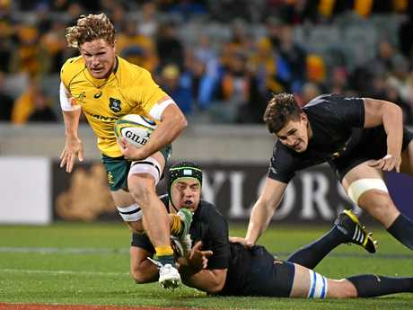 Michael Hooper of the Wallabies makes a break during against Argentina.