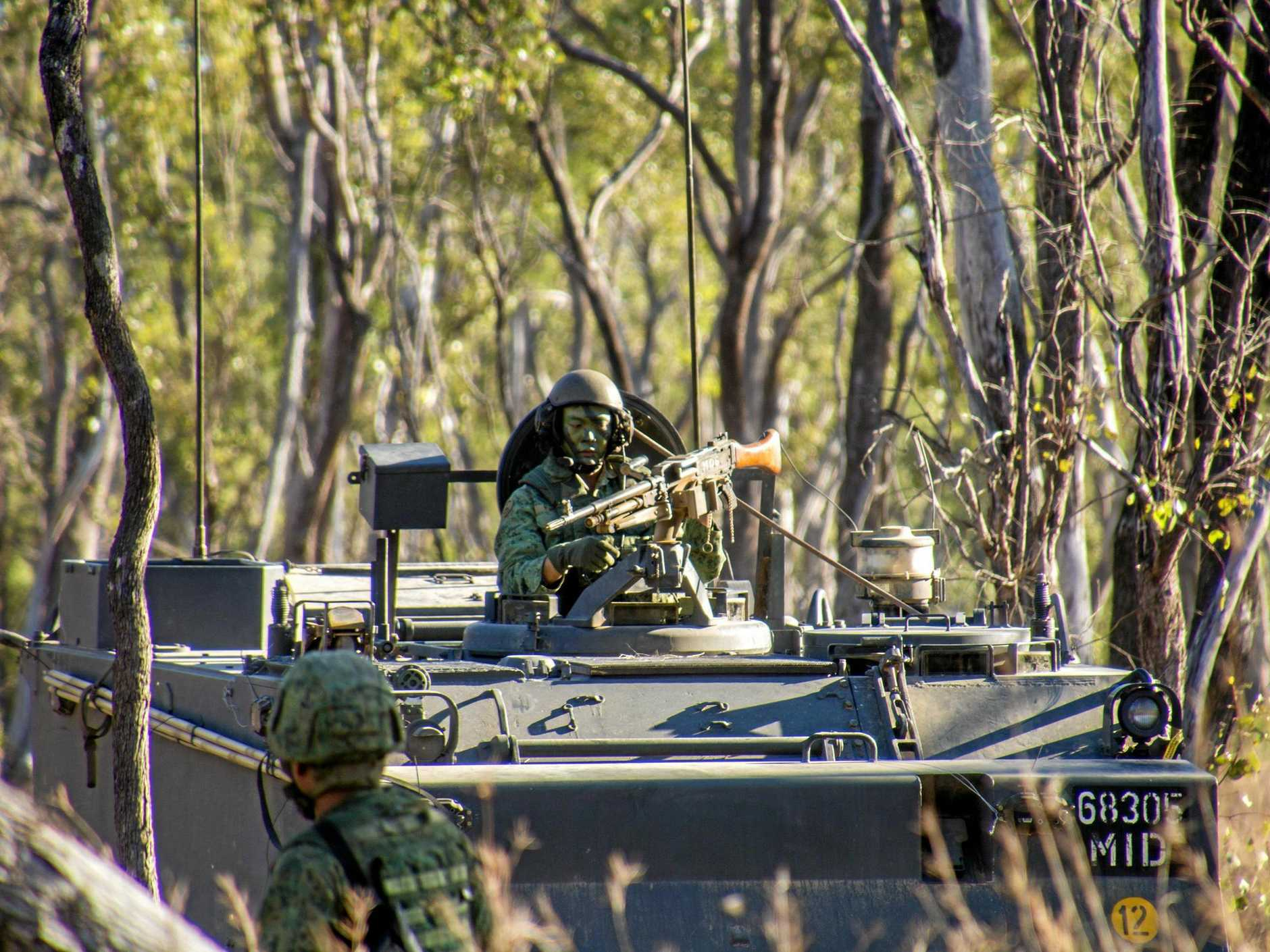 A Singapore Armed Forces armoured vehicle during Exercise Wallaby 2016