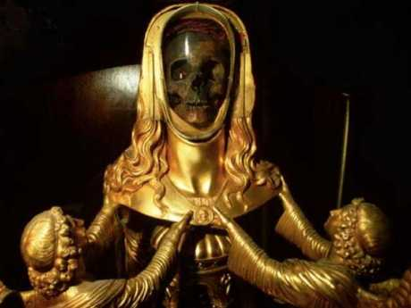 The golden reliquary from the basilica of Saint-Maximin-la-Sainte-Baume, in the south of France, said to contain the skull of Mary Magdalene.Source:Supplied