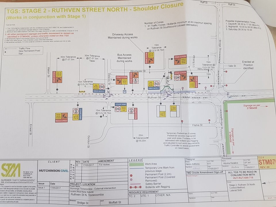 An advisory plan delivered to Toowoomba North residents regarding the planned changes for Ruthven and Moffatt Sts tied to the Bunnings Warehouse development.